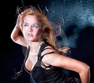Blondie Woman With Spreading Hair Dancing Stock Photos - Image: 15087413