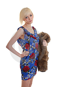 Pretty Blond Holding Fur Coat Royalty Free Stock Photo - Image: 15087565