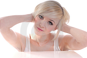 Pretty Smiling Blond In High Key Portrait Stock Image - Image: 15087711