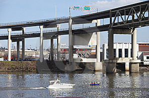 Elevated Freeway & Boats, Portland Oregon. Stock Image - Image: 15091471