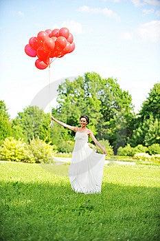 Noiva Com Balões Fotografia de Stock Royalty Free - Imagem: 15092217