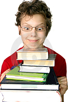Funny Boy With Set Of Books Stock Images - Image: 15094004