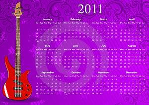 Vector European Calendar 2011 With Bass Guitar Stock Photo - Image: 15098340