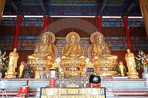 Three Big Golden Buddha Royalty Free Stock Photos - Image: 15099848