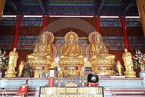 Three Big Golden Buddha Royalty Free Stock Photos - Image: 15099848