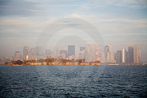 New York City Skyline in Fall Sunset Free Stock Images