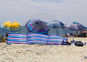 Striped Beach Umbrellas Royalty Free Stock Images - Image: 1518569