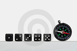 Dice And Compass Stock Photography - Image: 15100792