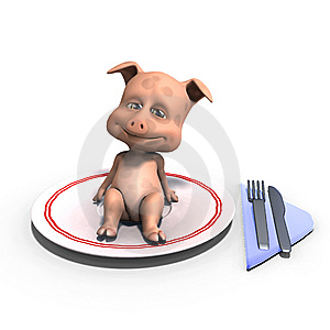 Cute And Funny Toon Pig Served On A Dish As A Royalty Free Stock Photo - Image: 15107665