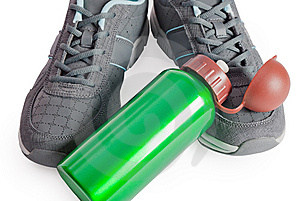 Sports Footwear, Thermos For Water. Stock Photography - Image: 15109502