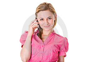 Attractive Female Talks Over Mobile, Isolated Royalty Free Stock Images - Image: 15110549