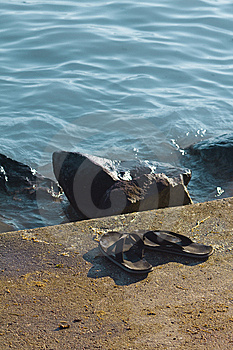 Slippers On Beach Stock Images - Image: 15111724