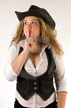 Whispering Western Girl Stock Photos - Image: 15113383