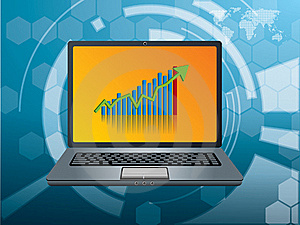 Graphic Investment On The Laptop Screen Stock Images - Image: 15115874
