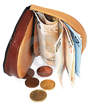 Leather Wallet With Euro Royalty Free Stock Images - Image: 15116959