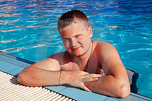 Beautiful Man In Pool Royalty Free Stock Images - Image: 15117159