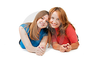 Girls Lie On A Floor Stock Photo - Image: 15117400