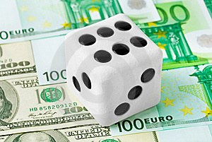 Dice On Money Background Royalty Free Stock Photography - Image: 15120977