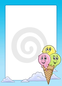 Frame With Cartoon Ice Cream Royalty Free Stock Images - Image: 15124589