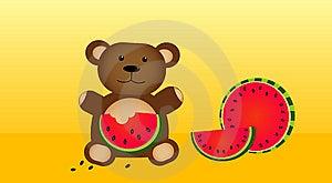 Bear Eating Fresh Watermelon Stock Images - Image: 15127524