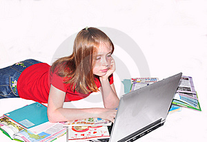 Girl Teenager  Doing Lessons Royalty Free Stock Images - Image: 15128279