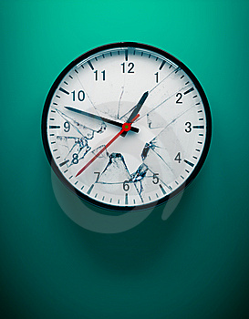 Shattered Wall Clock Stock Image - Image: 15133951