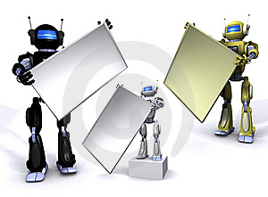 Robot With Empty Billboard Royalty Free Stock Image - Image: 15134236