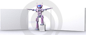 Robot With Empty Billboard Royalty Free Stock Photography - Image: 15134597