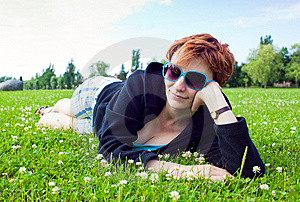 Girl On Grass Royalty Free Stock Image - Image: 15135236