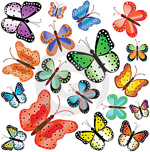 Motley Butterflies Of Different Size Royalty Free Stock Photo - Image: 15137835