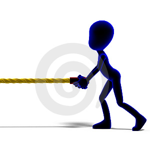 Symbolic 3d Male Toon Character Pull A Long Rope Royalty Free Stock Photography - Image: 15143977