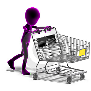 Symbolic 3d Male Toon Character Goes Shopping Royalty Free Stock Photos - Image: 15143988