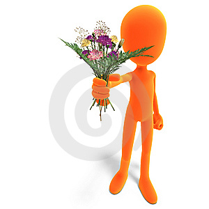 Symbolic 3d Male Toon Character Give You Flowers Royalty Free Stock Images - Image: 15143999