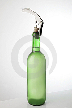 White Wine Bottle And Corkscrew Stock Images - Image: 15145194