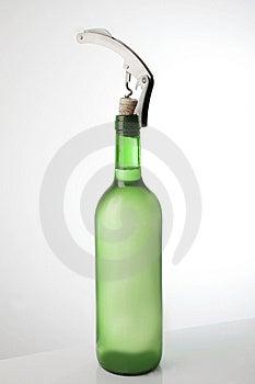 White Wine Bottle And Corkscrew Stock Images - Image: 15145194