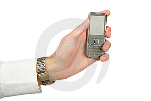 The Man's Hand Holds Mobilephone Stock Image - Image: 15146181