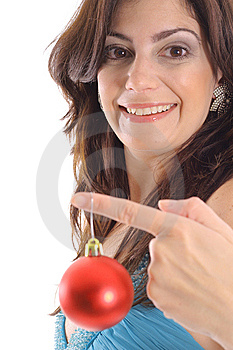 Woman Holding Christmas Ornament Upclose Royalty Free Stock Image - Image: 15146516