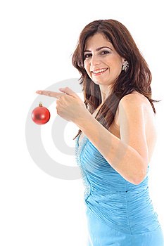 Woman Holding Ornament On White Vertical Royalty Free Stock Photo - Image: 15146525