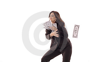 Woman Catching Money Stock Photography - Image: 15146552