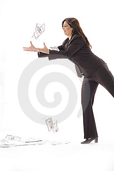 Woman In Business Suit Catching Money Vertical Royalty Free Stock Image - Image: 15146556