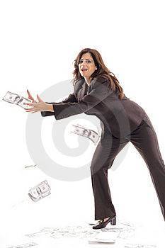 Business Woman Catching Money Center Stock Photo - Image: 15146560