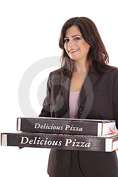 Woman In Business Suit Carrying Pizzas Royalty Free Stock Images - Image: 15146589