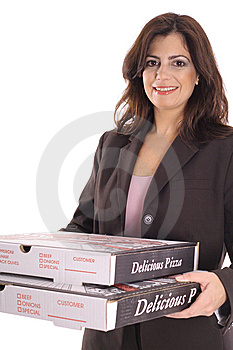 Happy Woman In Business Suit Carrying Pizzas Stock Images - Image: 15146594