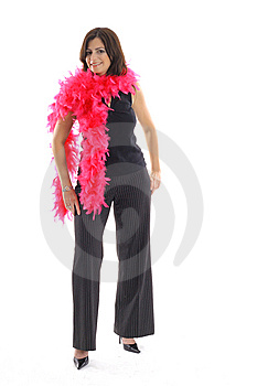 Woman With Pink Boa Vertical Royalty Free Stock Image - Image: 15146696