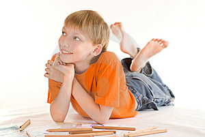 Boy Lying  And Draw Stock Photos - Image: 15149913