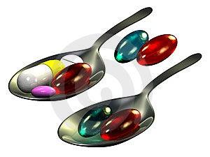 Pills On Spoon Royalty Free Stock Photo - Image: 15150675