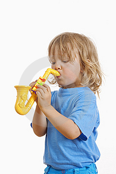 Boy With Toy Saxophone Stock Photo - Image: 15153010