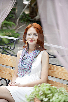 Portarait Of Young Beautiful Girl On Bench. Royalty Free Stock Photos - Image: 15154938