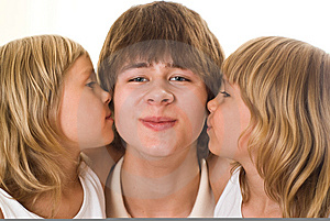 Teenager With His Sisters Royalty Free Stock Images - Image: 15155129