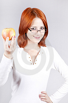 Girl With Apple In Hand. Royalty Free Stock Image - Image: 15155166